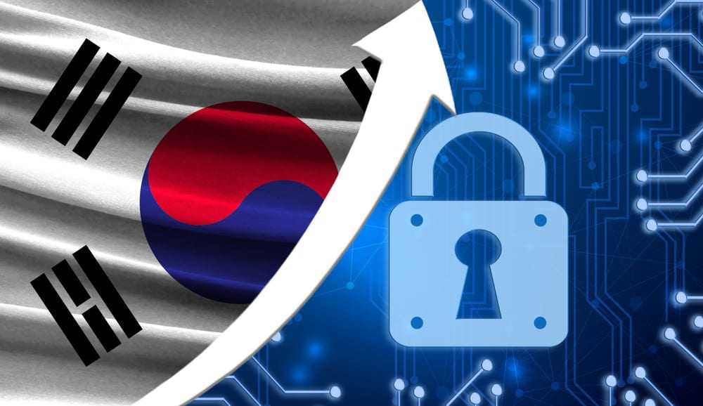 The-flag-of-South-Korea-together-with-the-blue-cryptogram-and-the-up-arrow-with-the-lock.-This-concept-shows-the-increased-level-of-security-of-the-crypto-currency-and-blockchain-wallets.-1